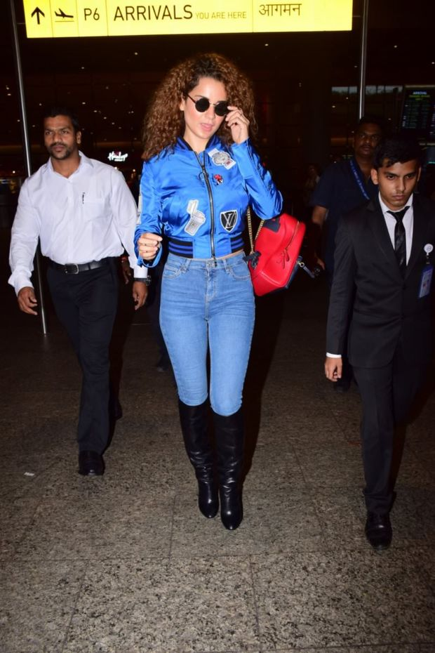 Kangana Ranaut Looks Vibrant In Blue At The Airport