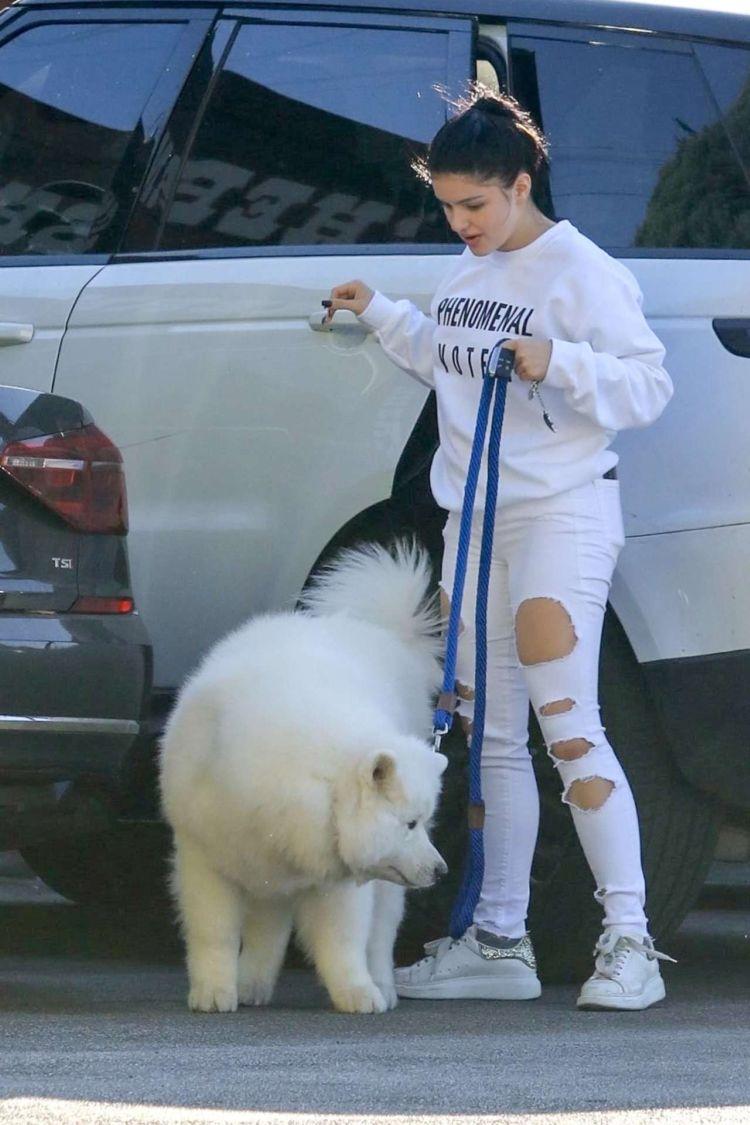 Ariel Winter Walking Her Dog In White Torn Jeans