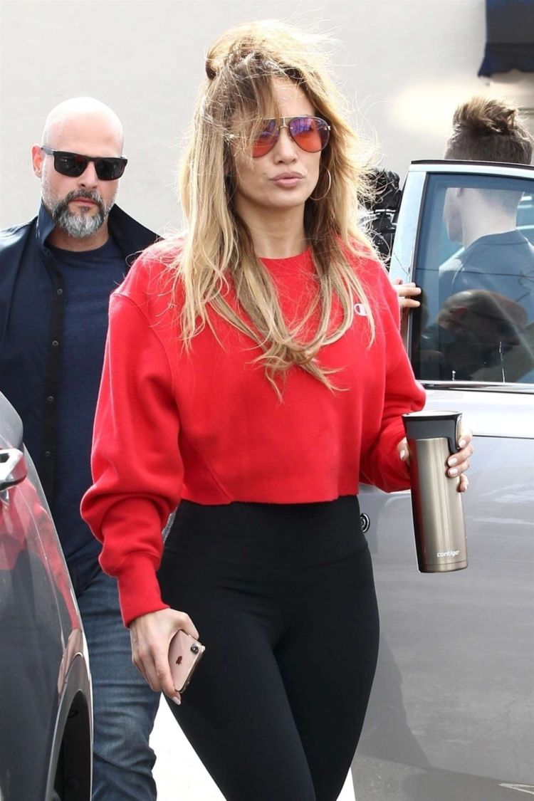 Jennifer Lopez Candids In Red And Black At Miami