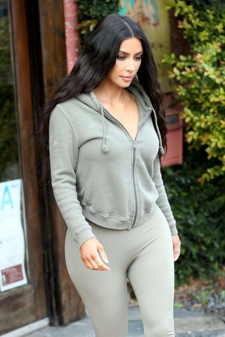 Kim Kardashian Candids In Tights Out In Sherman Oaks