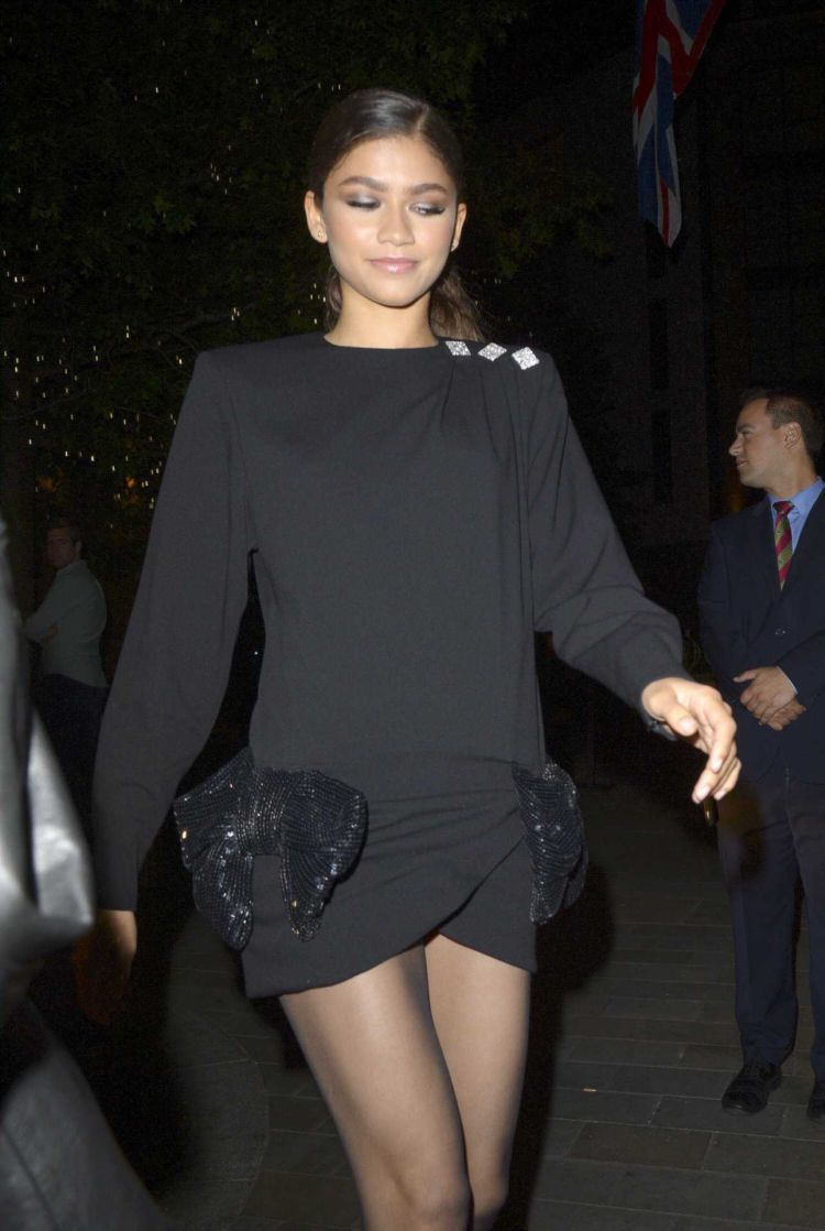 Zendaya Coleman For A Night Out In Black Dress