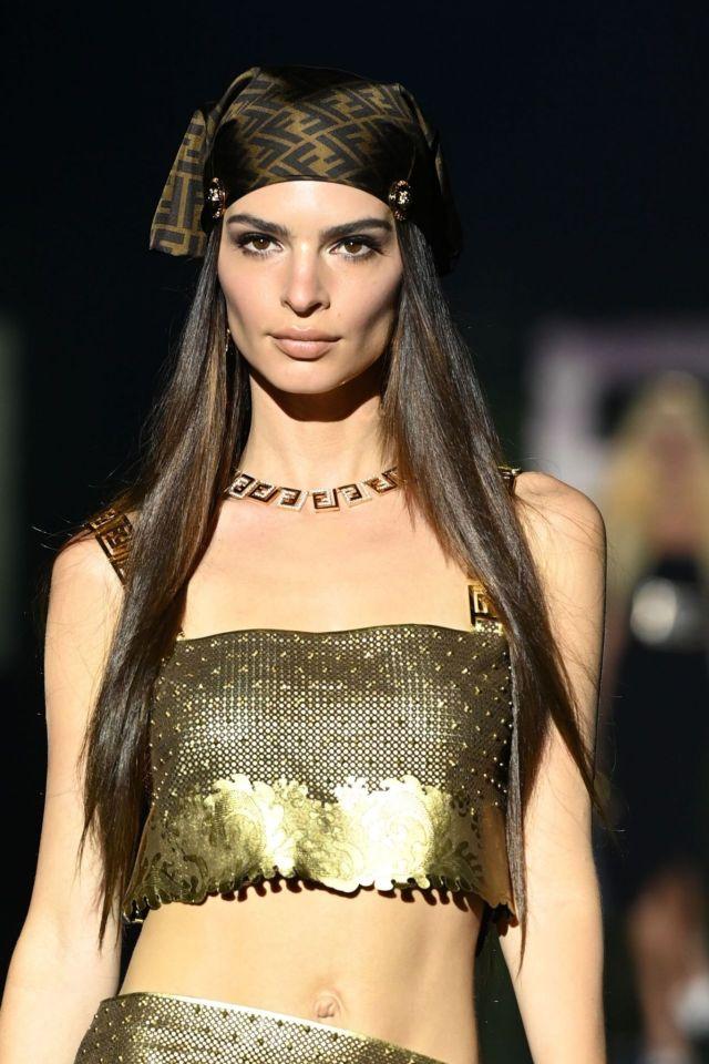 Emily Ratajkowski Walks For Versace Special Event In Milan