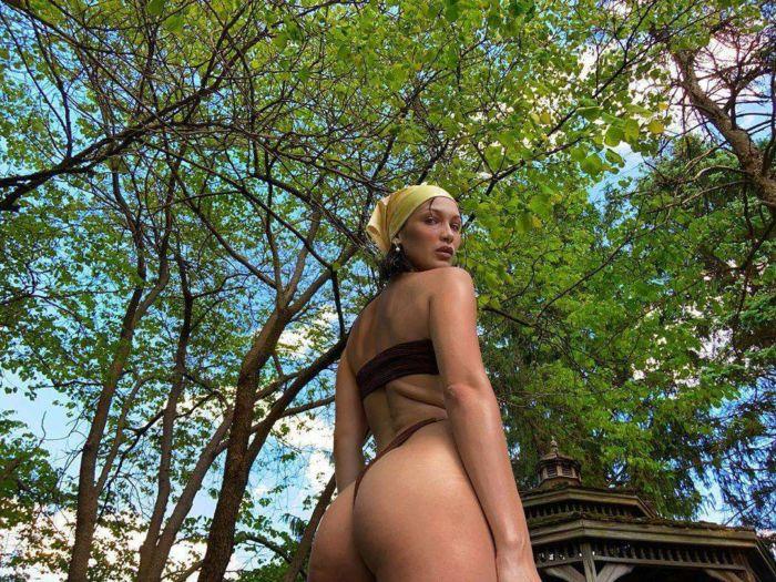 Bella Hadid Poses In A Bikini Under A Tree