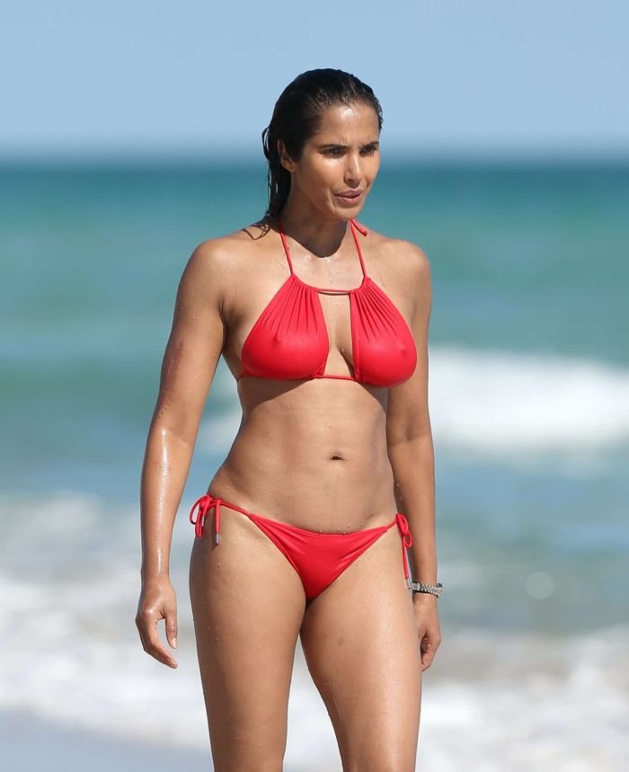 Padma Lakshmi Enjoys Vacation In Red Bikini At Miami Beach