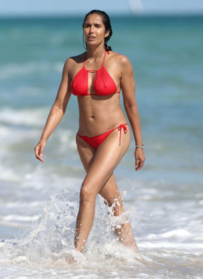 Padma Lakshmi Enjoys Vacation In Red Bikini At Miami Beach