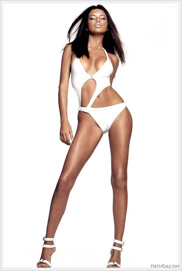 Adriana Lima in a Pure White Bikini