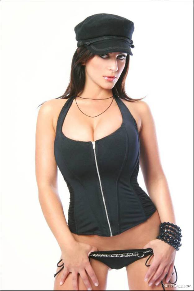 Denise Milani in Black Cap